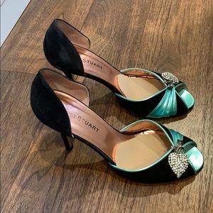 Jill Stuart embellished peep toe heels